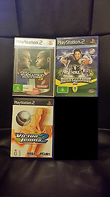 3 X PlayStation 2 games - PAL - Rugby League 2 - Virtua Tennis 2 - Free postage!