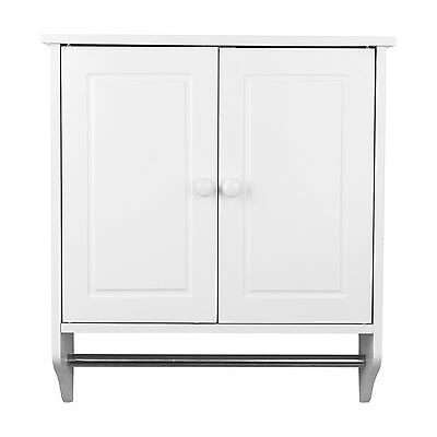 Brand New Wall Mounted White Wood Cabinet Door Shelf Towel Rail Bathroom Storage