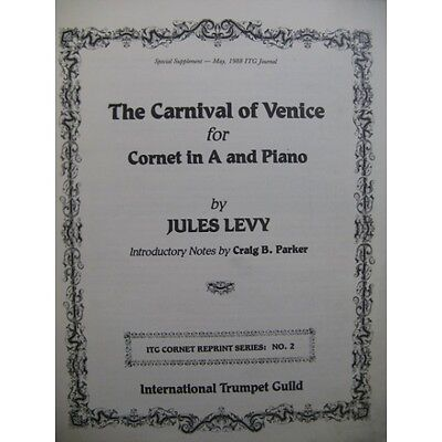 LEVY Jules The Carnival of Venice Piano Cornet   Partition Sheet Music Spartiti