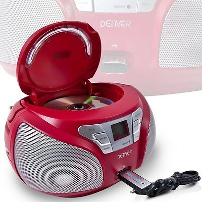 Ghettoblaster Boombox Tragbar mit CD Player USB und Radio Aux Denver TCU-206 ROT
