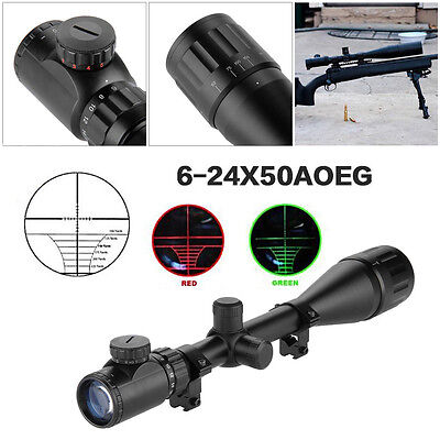 Zielfernrohr Visier 6-24x50AOEG Jäger Luftgewehr Rifle Scope Sight 11mm Montagen