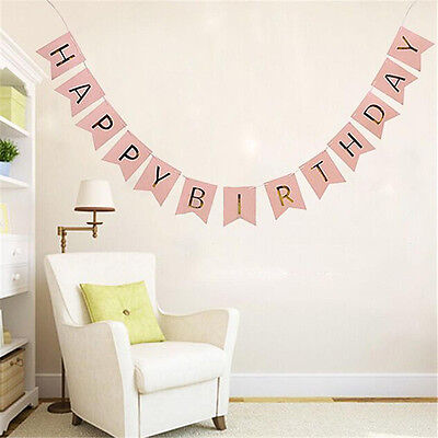 Pink Happy Birthday Party Bunting Garland Gold Letters Hanging Bunting Banner