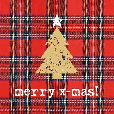 "CHRISTMAS TREE TARTAN GOLD RED 3-PLY 20 PAPER NAPKINS SERVIETTES13""x13""–33X33CM"