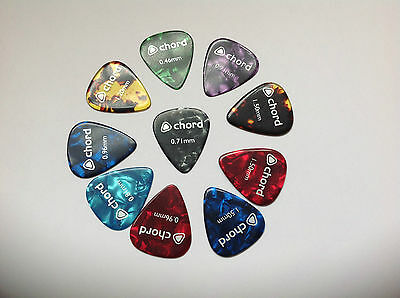 10 x Celluloid Guitar picks/plectrums. Choice of thickness & colour.