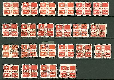 Samoa 5d selection on stock card x22. Mint & used. Clean lot