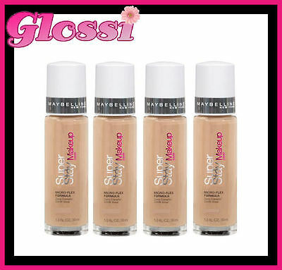 4 X Maybelline Superstay 24 Hour Foundation Makeup ❤ 40 Natural Beige ❤ Glossi