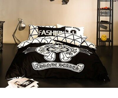 New 2016 Chrome Hearts Bedding Set 4pc Queen King Bed Cotton Gift RARE