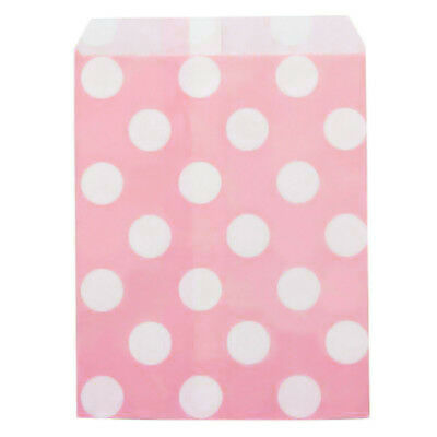 Large White Polka dots on Pink Coloured Paper Bags x50 sweet treat gift