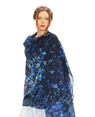 Forget Me Not Flower Blue Women's Scarf or Shawl