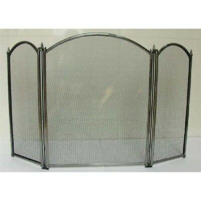 Inglenook Curved Top 3 Panel Pewter Fire Screen Fire Guard FIRE196