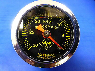 "Marshall Gauge 0-30 Hg Vacuum 1.5"" Midnight Chrome Liquid Filled Shock Proof 1/8"