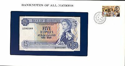"Mauritius ~ 1967 ~ 5 Rupees Note ~ Cu ~ ""banknotes Of All Nations"""