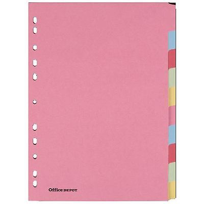 Office Depot punched Dividers A4 10 Part Multi Colour