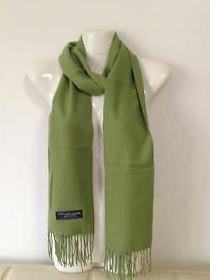 100% Cashmere Scarf Solid Design Color Olive Green Made In Scotland Super Soft