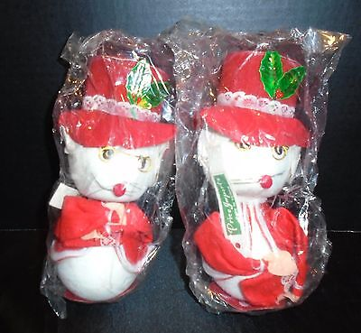 """Vintage Price Imports Christmas Styrofoam Mr. and Mrs. Mouse Red Suit 8"""""""