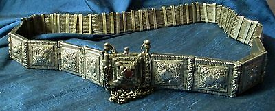 "RARE Antique Rajasthan Old Tribal Heavy  SILVER BELT India 32""~24 oz."