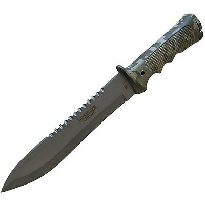 "13.75"" ARMY CAMO DROP POINT SURVIVAL COMBAT TACTICAL HUNTING KNIFE w/ KIT SHEATH"