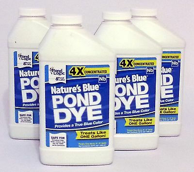4-Pack -Nature's Blue Pond Dye, 32 oz size- Super Concentrate -water garden-lake