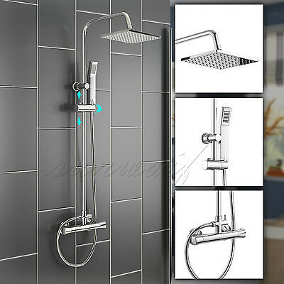 Luxury Chrome Square Shower Mixer Bar Overhead Thermostatic Valve Twin Head Kit