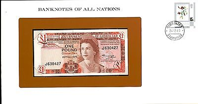 """Gibraltar ~ 1975 ~ 1 Pound Note ~ Cu ~ """"banknotes Of All Nations"""""""