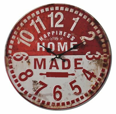 Shabby Chic Vintage Style 40cm Wall Clock Large Red Kitchen Room House Home