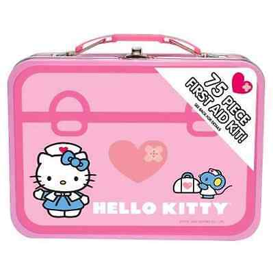 SUPER RARE & CUTE ! Hello Kitty 75 Piece First Aid Kit With Collectible Tin Case