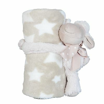 Present Baby Shower Party Sheep Soft Toy Faux Fur Cream Beige Throw Blanket
