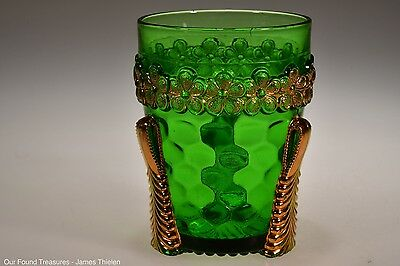 "c. 1899 No. 15060 VERMONT by U.S. Glass GREEN w/GOLD 3 3/4"" H Tumbler"