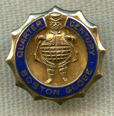 Late 1950's Boston Globe Newspaper 25 Years of Service Lapel Pin by Robbins