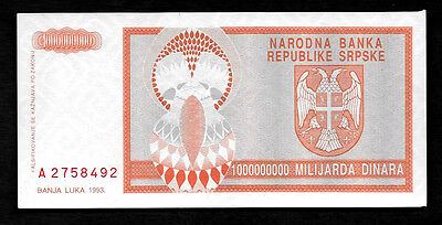 World Paper Money - Bosnia 1 Billion Dinara 1993 P147 @ AU