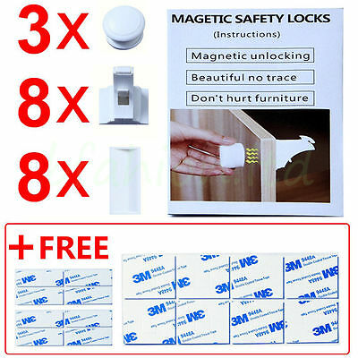 Baby Safety Locks Cabinet Magnetic Child Security Drawer Toilet Lock 8Set +3 Key