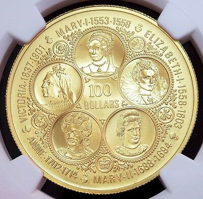 1975 Gold Cayman Islands $100 Five Sovereign Queens Coin Ngc Mint State 69