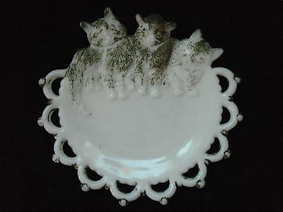 Westmoreland 3 cats white milk glass plate with antique gilt paint, vintage