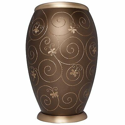 ADULT BROWN CREMATION URNS, LARGE NEW FUNERAL URN FOR HUMAN ASHES- gold urn