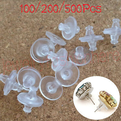 500Pcs Silicone Earring Back Plugs Stoppers Ear Post Nuts Jewelry Findings New