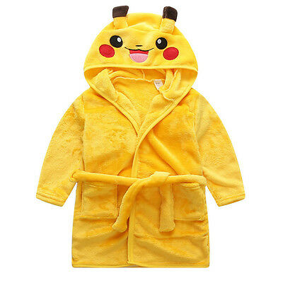 Pokemon Boy Girl Kids Dressing Gown Bathrobe Warm Pikachu Robe Nightwear