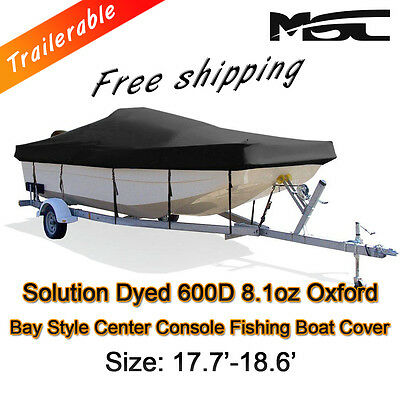 MSC  17.7'-18.6' 600D Marine Grade Styled to fit Centre Console Boat Cover Black