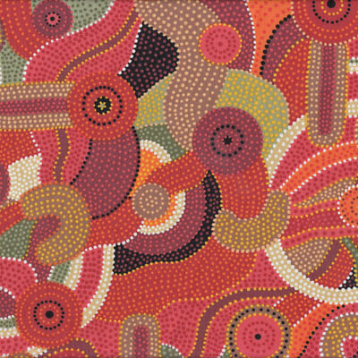 Australian Aboriginal Design Circles Katoomba Red Quilt Fabric FQ or Metre *New*