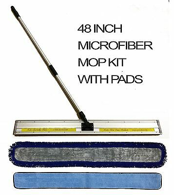 48 Inch Microfiber Mop Kit - Mop Frame, Telescopic Pole, Wet And Dry Pads