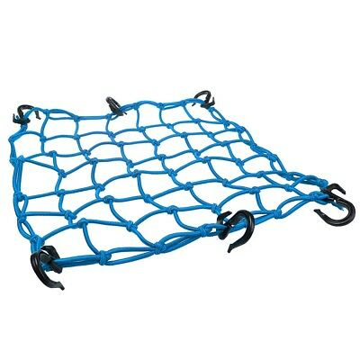 """15""""x15"""" Bungee Cargo Net 6 Adjustable Hook Stretch to 30""""x30"""" Motorcycle Blue"""