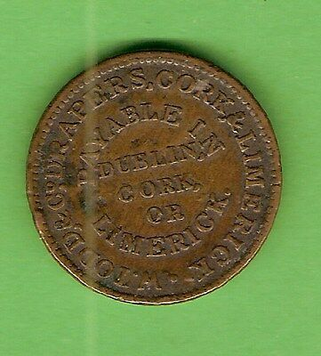 #D208. 1834 IRELAND FARTHING COPPER TOKEN - W.T. WOOD & Co.