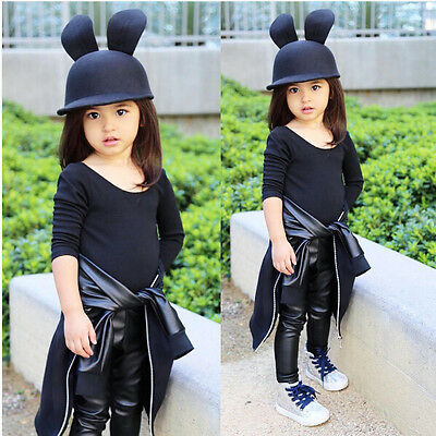 Baby Kids Girls Clothes Cute Stretchy PU Leather Skinny Pants Leggings Trousers
