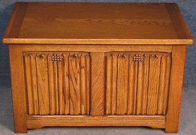 Small Light Oak Linen Fold Coffer / Blanket Box