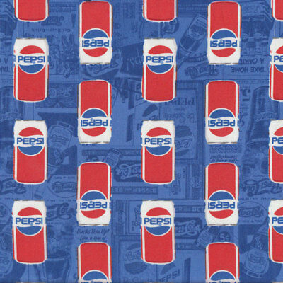 Pepsi Cans on Blue Soft Drink Licensed Quilt Fabric FQ or Metre *New*