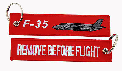 F-35 Lightning Remove Before Flight Key Ring Luggage Tag