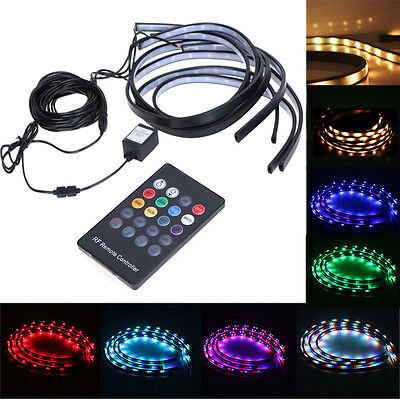 8 Color LED Strip Under Car Tube Underglow Underbody Glow System Neon Lights Kit
