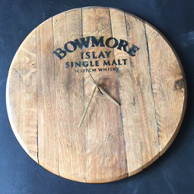 Recycled Solid Oak Bowmore Whisky Branded Whisky Barrel End Wall Clock