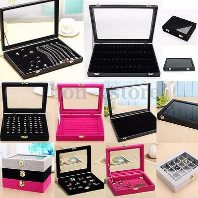 Velvet Glass Jewelry Case Organizer Box Holder Storage Earring Ring Display Box