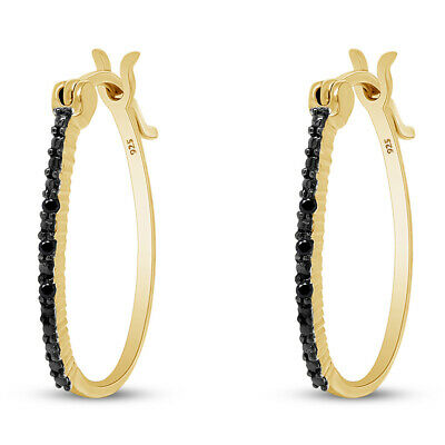 14K Yellow Gold Over Round Cut Natural Black Diamond Accents Hoop Earrings
