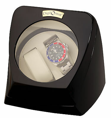 New Dual 2 Watch Winder Diplomat Case Box Storage Timer & ant Black  for Watches